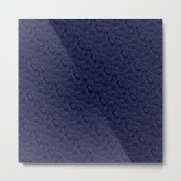 Muted '90s Fern Background Grid at Dusk – Deep Blue Metal Print