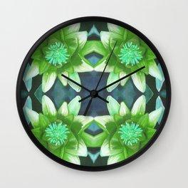 Teal Green Bromeliad Pattern Wall Clock