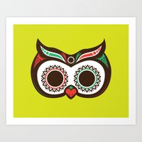 Day 0f the Dead Owl Art Print