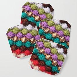 Bobbly colourful knitting Coaster