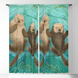 Otters Holding Paws, Floating in Emerald Waters Blackout Curtain