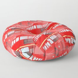 Red London Buses Floor Pillow