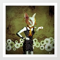 Cat wear by Annabellerockz Art Print