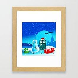 Tardis With Snow Ball Gift Christmas Framed Art Print