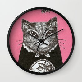 Pink Cat - Ink and acrylic cat art Wall Clock