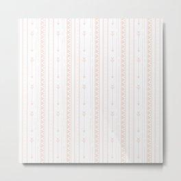 Pastel brown white bohemian arrows zigzag geometrical Metal Print