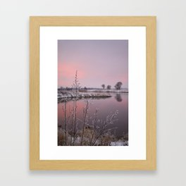 Winter Sunset At River Bank Framed Art Print