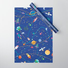 Space Rocket Pattern Wrapping Paper