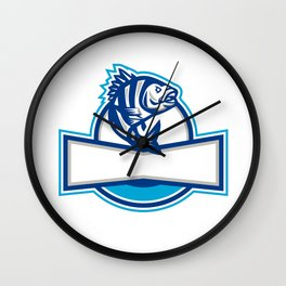 Sheepshead Fish Jumping Up Half Circle Retro Wall Clock