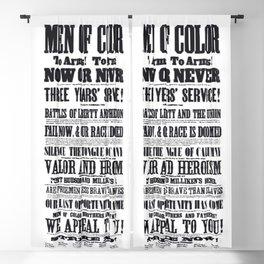 African American Freemen of Color Civil War Recruitment Broadside Advertising Poster Blackout Curtain