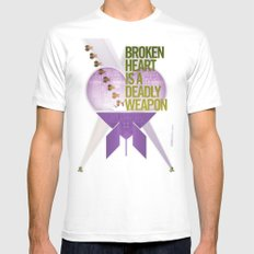 Broken Heart Is A Deadly Weapon Mens Fitted Tee White MEDIUM