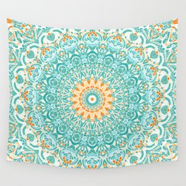 Orange and Turquoise Clarity Mandala Wall Tapestry