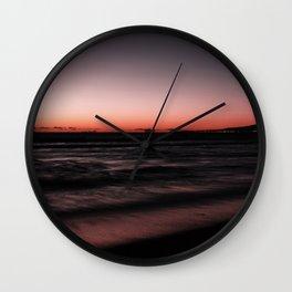 Sunset Shades of Magenta Beach Ocean Seascape Landscape Coastal Wall Art Print Wall Clock