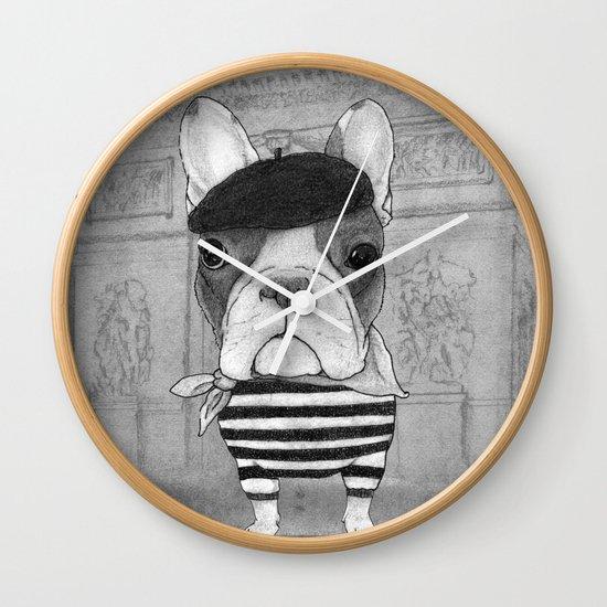 French Bulldog. (black and white version) Wall Clock