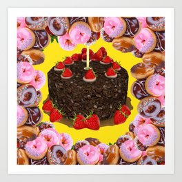PINK FROSTED DONUTS BIRTHDAY PARTY Art Print