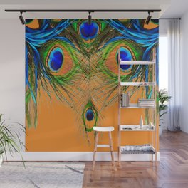 ORANGE BLUE-GREEN PEACOCK FEATHERS ART Wall Mural