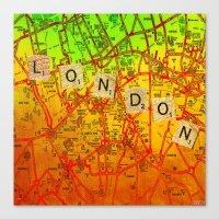 london map Canvas Prints featuring London Map by Joe Ganech