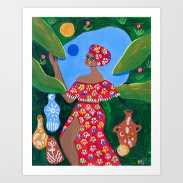 She who gets herself flowers Art Print