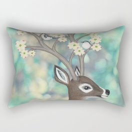 white tailed deer, white breasted nuthatches, & dogwood blossoms Rectangular Pillow