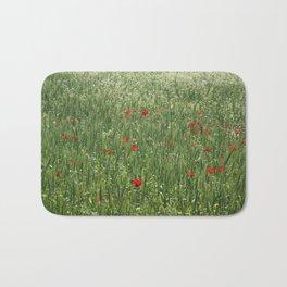 Poppy Field And Springtime Hay Meadow  Bath Mat
