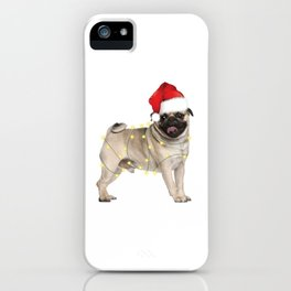 Dog Pug Santa Hat Christmas Lights Dog Lovers iPhone Case