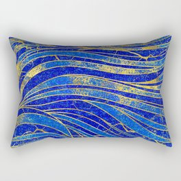 Lapis Lazuli and gold vaves pattern Rectangular Pillow