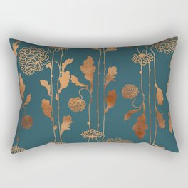 Art Deco Copper Flowers Rectangular Pillow