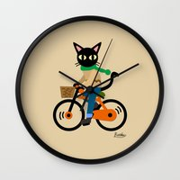 cycling Wall Clocks featuring Whim's cycling by BATKEI (Keiko W)
