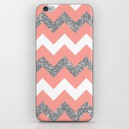 coral glitter chevron iPhone Skin