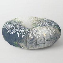 Mandala Forest Fog Road Floor Pillow