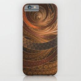 Earthen Brown Circular Fractal on a Woven Wicker Samurai iPhone Case