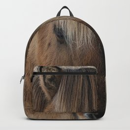 snowy Icelandic horse Backpack