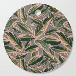 Calathea Leaves Pattern- Pink Green Gray Cutting Board