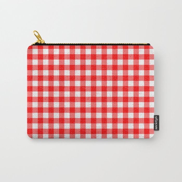 Gingham Red and White Pattern Carry-All Pouch