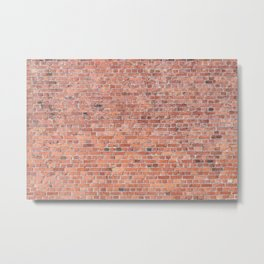 Plain Old Orange Red London Brick Wall Metal Print
