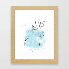 Cockatoo Abstract Brush - Blue Framed Art Print