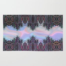 Holographic Embroidery Fringe Print Rug