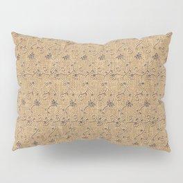 Faux Burlap and Lace Pattern Image Pillow Sham