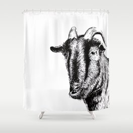 Interaction with goat Shower Curtain