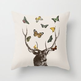 The Stag and Butterflies | Deer and Butterflies | Vintage Stag | Vintage Deer | Antlers | Woodland | Throw Pillow