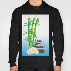 Meditation stones with bamboo and flowers Hoody