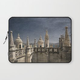 Monochrome treatment of the turrets at the Torre de Belem in Lisbon Laptop Sleeve