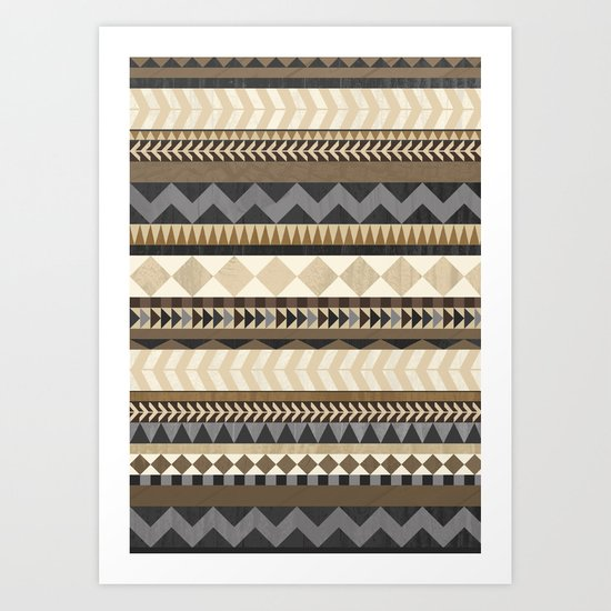 Dusty Aztec Pattern Art Print