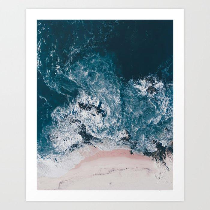 I Love The Sea Written On The Beach Art Print By Ingz