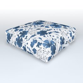 Blue Watercolour Floral Pattern Outdoor Floor Cushion
