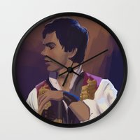 enjolras Wall Clocks featuring Enjolras by Miki Price