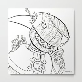 Robot Pirate - ink Metal Print