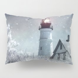 New England Winter Lighthouse Pillow Sham