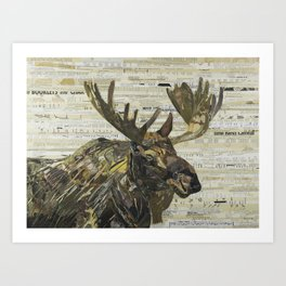 Eastern Moose Collage by C.E White Art Print
