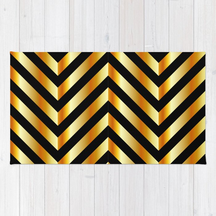 High grade raw material golden and black zigzag stripes Rug